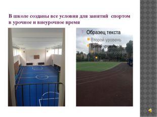 В школе созданы все условия для занятий спортом в урочное и внеурочное время