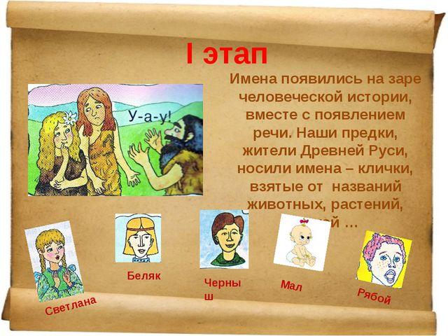 I этап Имена появились на заре человеческой истории, вместе с появлением речи...