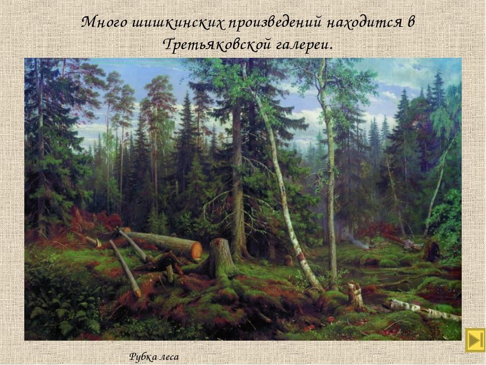 Много шишкинских произведений находится в Третьяковской галереи. Рубка леса