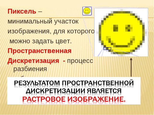 Пиксель – минимальный участок изображения, для которого можно задать цвет. Пр...