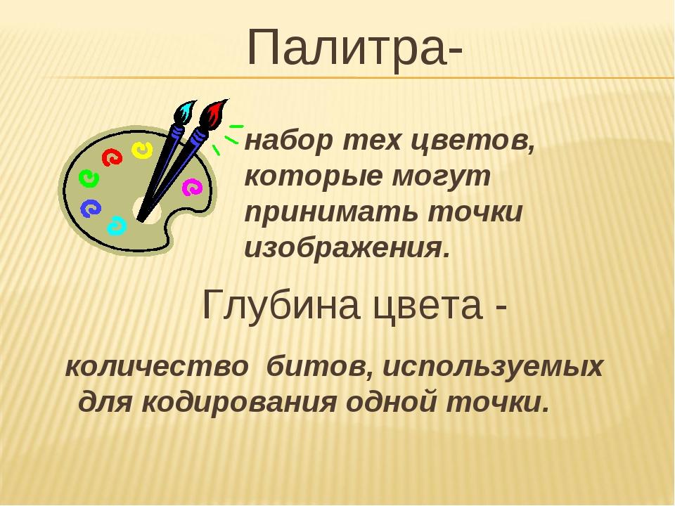 Палитра- Глубина цвета - набор тех цветов, которые могут принимать точки изоб...