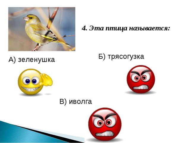 4. Эта птица называется: В) иволга Б) трясогузка А) зеленушка
