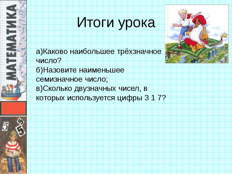 Итоги урока а)Каково наибольшее трёхзначное число? б)Назовите наименьшее семи...