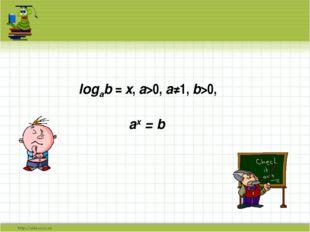logab = x, а>0, a≠1, b>0, ax = b