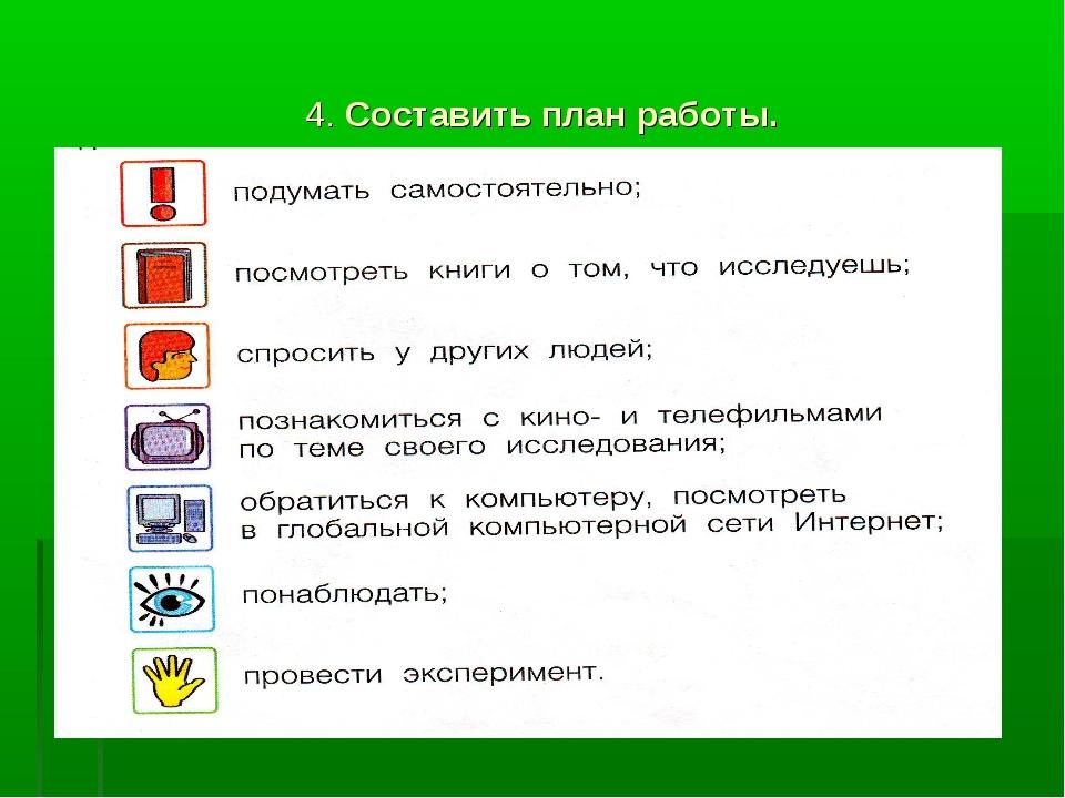 4. Составить план работы.