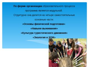 По форме организации образовательного процесса программа является модульной.