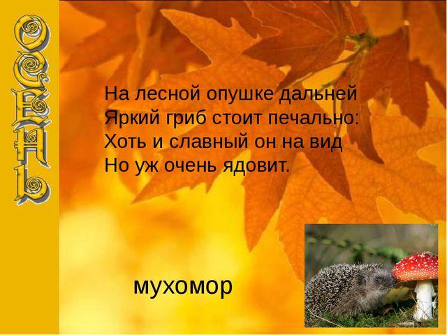 мухомор На лесной опушке дальней Яркий гриб стоит печально: Хоть и славный он...