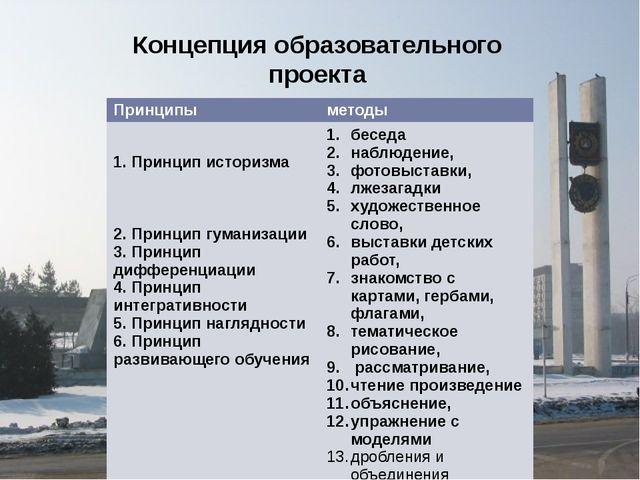 Концепция образовательного проекта Принципы методы 1. Принцип историзма 2. Пр...