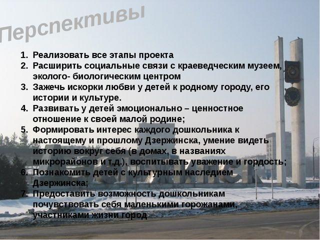 Перспективы Реализовать все этапы проекта Расширить социальные связи с краеве...