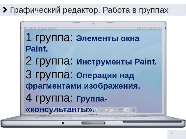 Графический редактор. Работа в группах 1 группа: Элементы окна Paint. 2 групп...