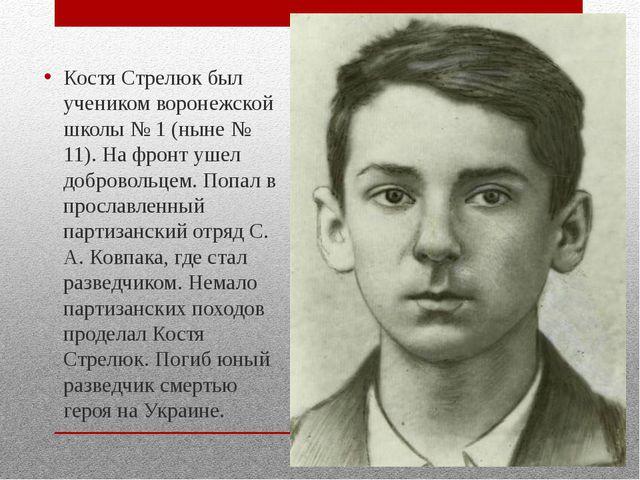 Костя Стрелюк был учеником воронежской школы № 1 (ныне № 11). На фронт ушел...