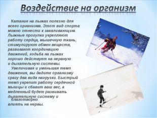 Катание на лыжах полезно для всего организма. Этот вид спорта можно отнести