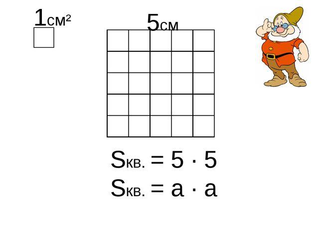 Sкв. = 5 ∙ 5 Sкв. = a ∙ a 5см
