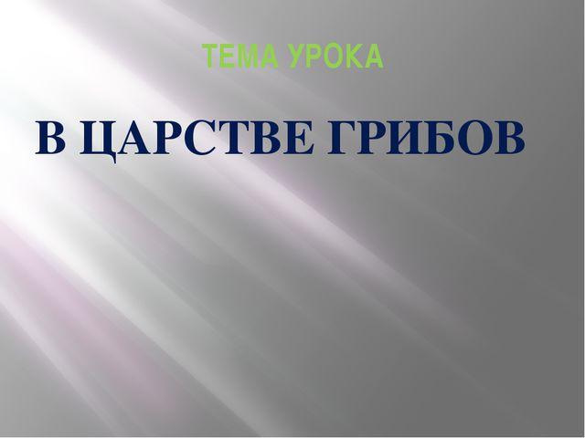 ТЕМА УРОКА В ЦАРСТВЕ ГРИБОВ