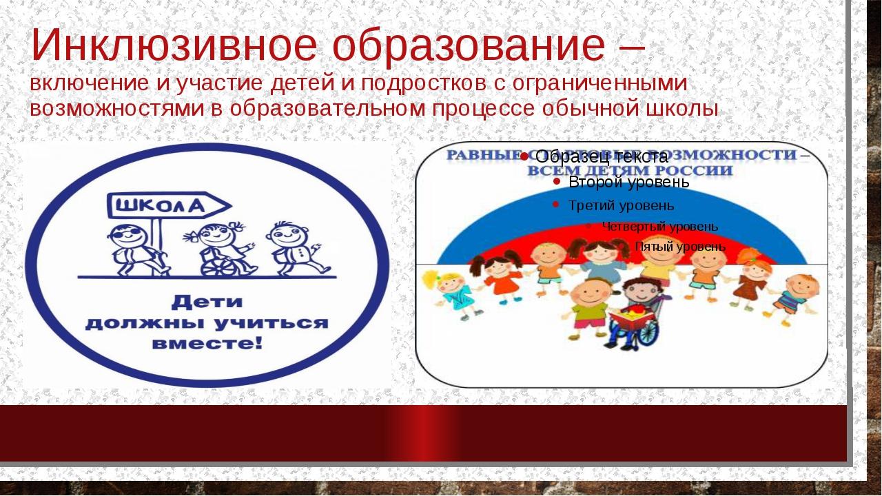 Инклюзивное образование – включение и участие детей и подростков с ограниченн...