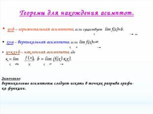 Теоремы для нахождения асимптот. y=b – горизонтальная асимптота, если существ