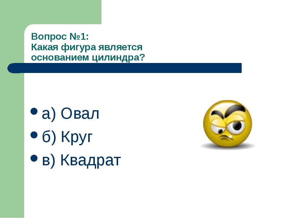 Вопрос №1: Какая фигура является основанием цилиндра? а) Овал б) Круг в) Ква...