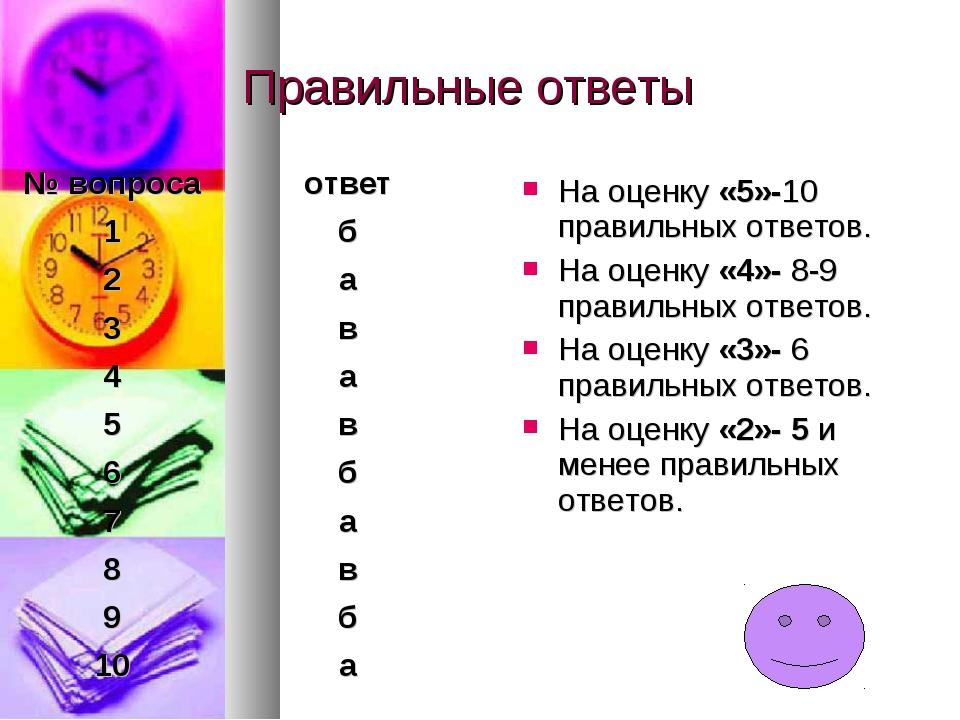 Правильные ответы На оценку «5»-10 правильных ответов. На оценку «4»- 8-9 пра...