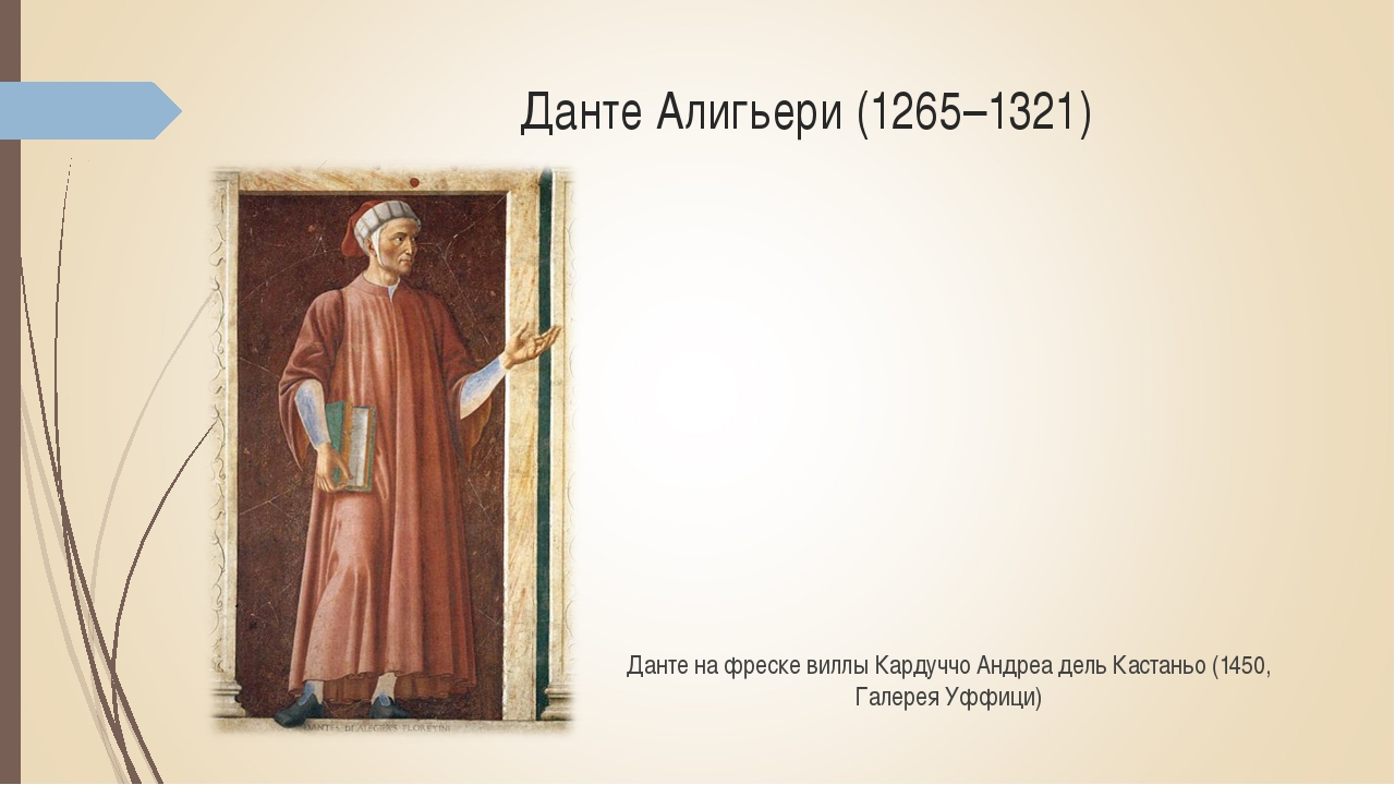 Данте Алигьери (1265–1321) Данте на фреске виллы Кардуччо Андреа дель Кастань...