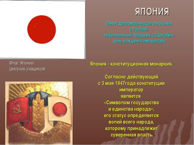 ЯПОНИЯ Флаг Японии (рисунок учащихся) Имеет дипломатические отношения с Росси...