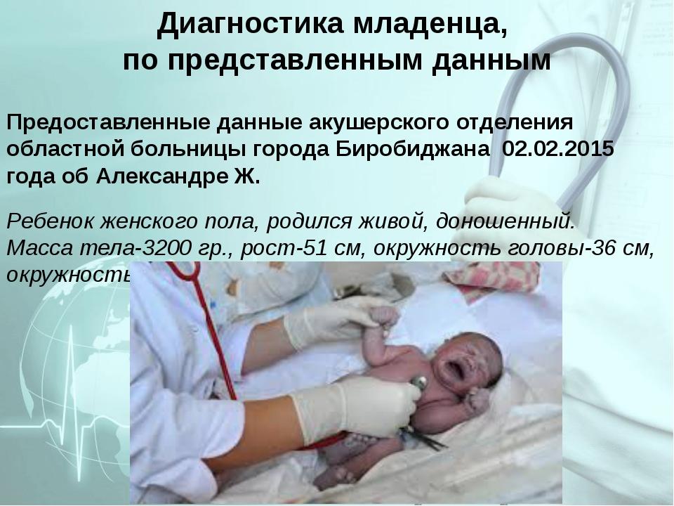 Диагностика младенца, по представленным данным Предоставленные данные акушерс...