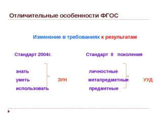 Отличительные особенности ФГОС Изменение в требованиях к результатам Стандарт