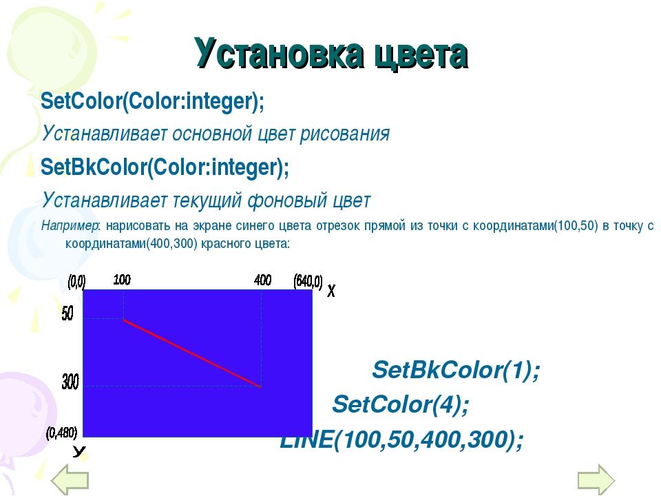 Установка цвета SetColor(Color:integer); Устанавливает основной цвет рисовани...