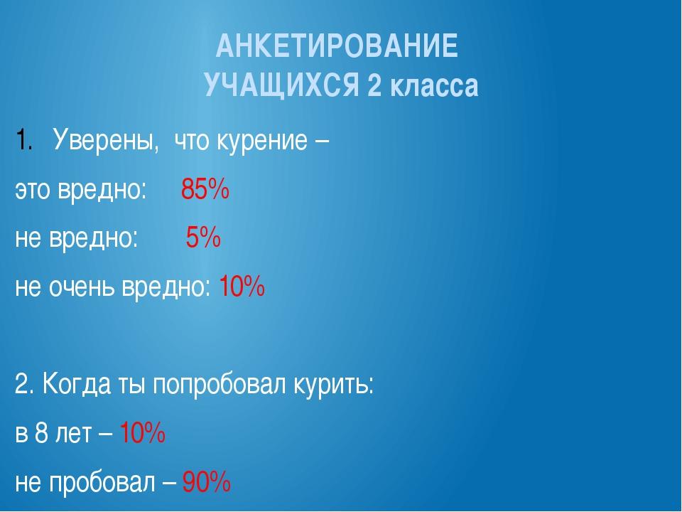 АНКЕТИРОВАНИЕ УЧАЩИХСЯ 2 класса Уверены, что курение – это вредно: 85% не вре...