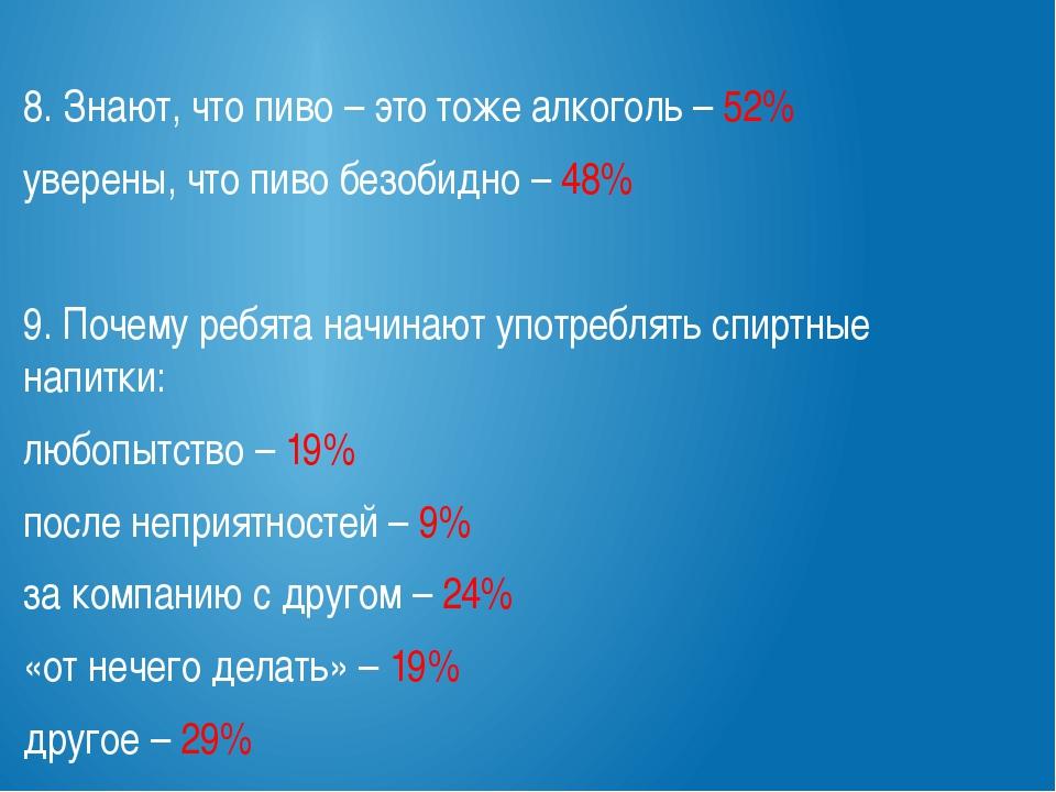 8. Знают, что пиво – это тоже алкоголь – 52% уверены, что пиво безобидно – 4...