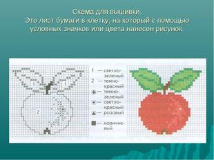 Схема для вышивки. Это лист бумаги в клетку, на который с помощью условных зн