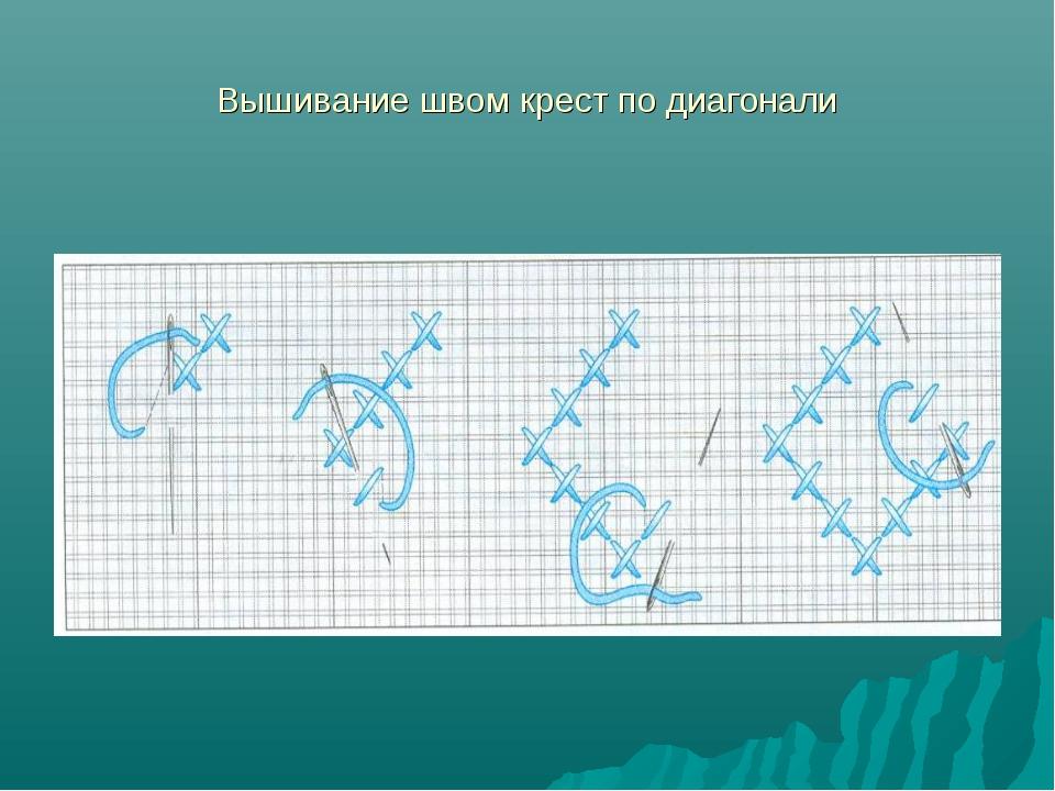 Вышивание швом крест по диагонали