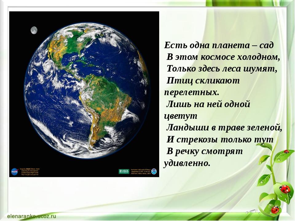 Есть одна планета – сад В этом космосе холодном, Только здесь леса шумят, Пти...