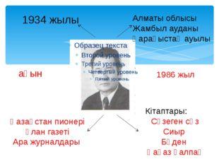 1934 жылы Алматы облысы Жамбыл ауданы Қарақыстақ ауылы ақын Кітаптары: Сүзеге