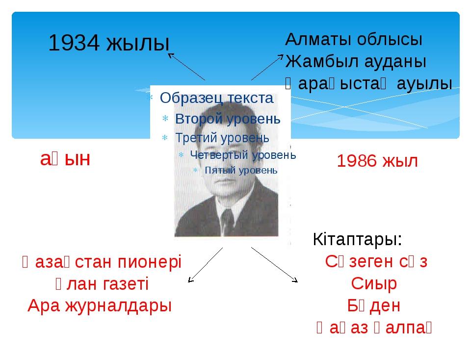 1934 жылы Алматы облысы Жамбыл ауданы Қарақыстақ ауылы ақын Кітаптары: Сүзеге...