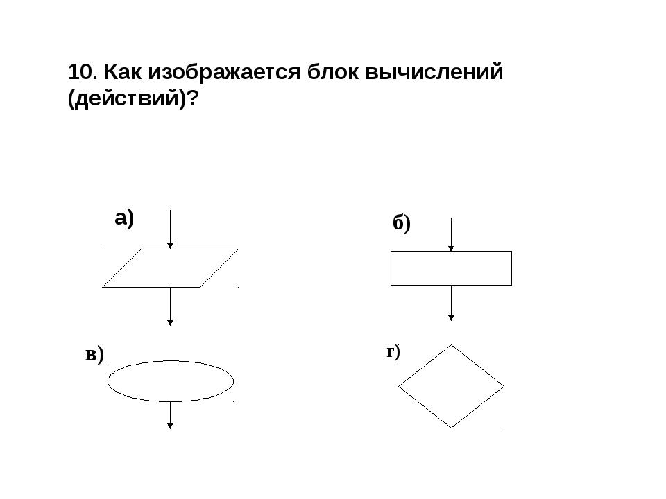 10. Как изображается блок вычислений (действий)? г) а) б) в)