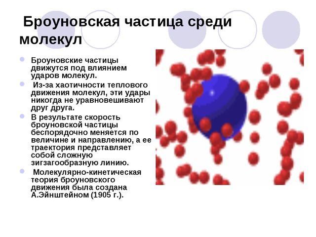 Броуновская частица среди молекул Броуновские частицы движутся под влиянием...