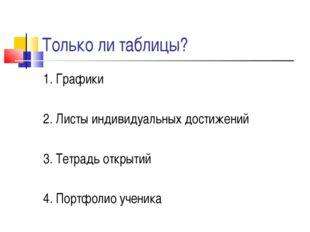 Только ли таблицы? 1. Графики 2. Листы индивидуальных достижений 3. Тетрадь о