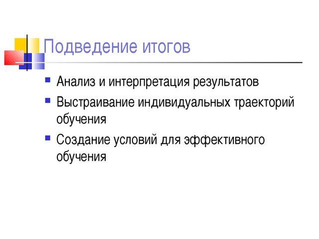 Подведение итогов Анализ и интерпретация результатов Выстраивание индивидуаль...