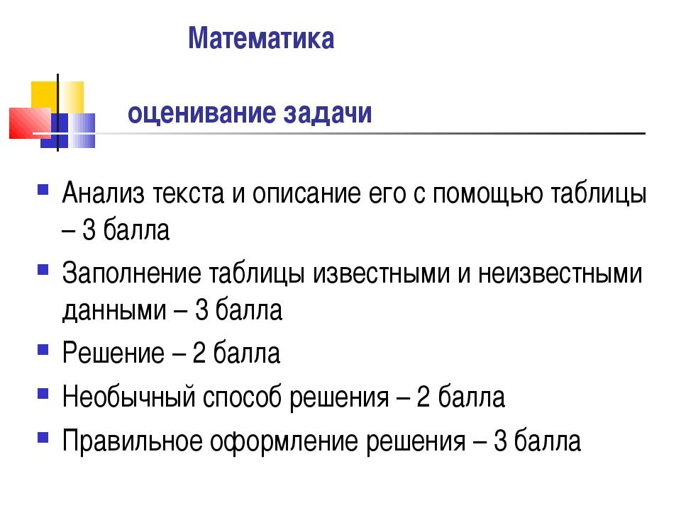 Математика оценивание задачи Анализ текста и описание его с помощью таблицы...