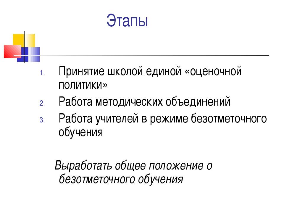 Этапы Принятие школой единой «оценочной политики» Работа методических объеди...
