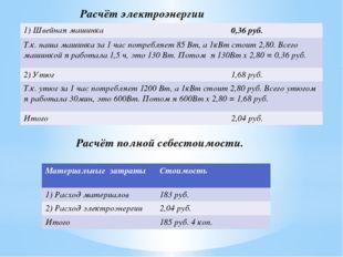 Расчёт электроэнергии Расчёт полной себестоимости. 1)Швейная машинка 0,36руб.