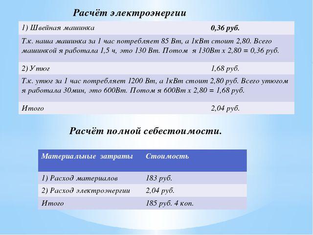Расчёт электроэнергии Расчёт полной себестоимости. 1)Швейная машинка 0,36руб....