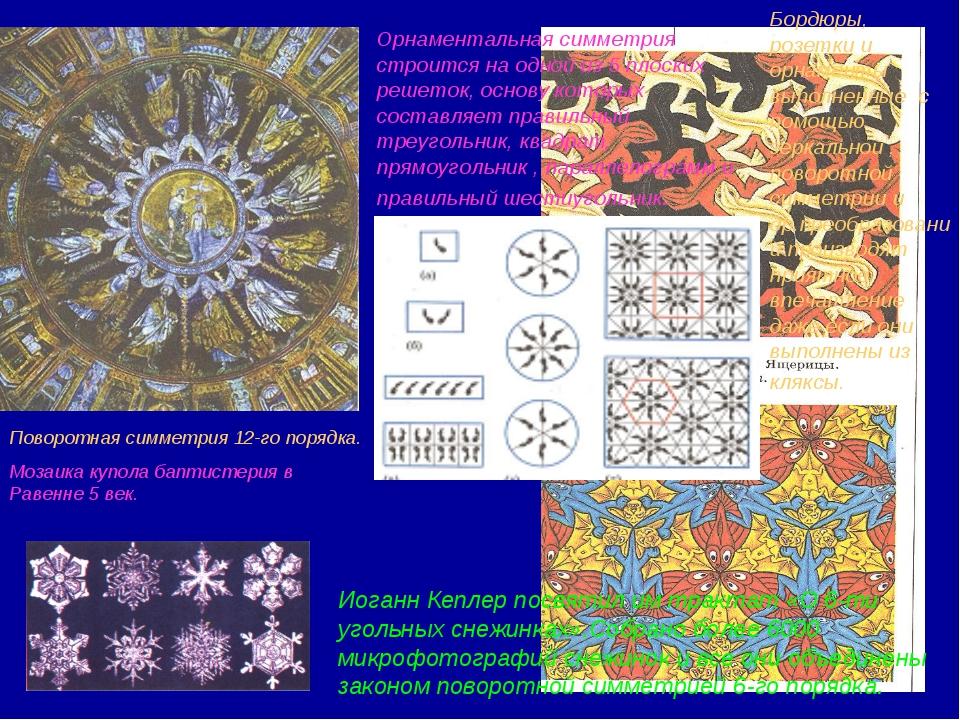 Поворотная симметрия 12-го порядка. Мозаика купола баптистерия в Равенне 5 ве...