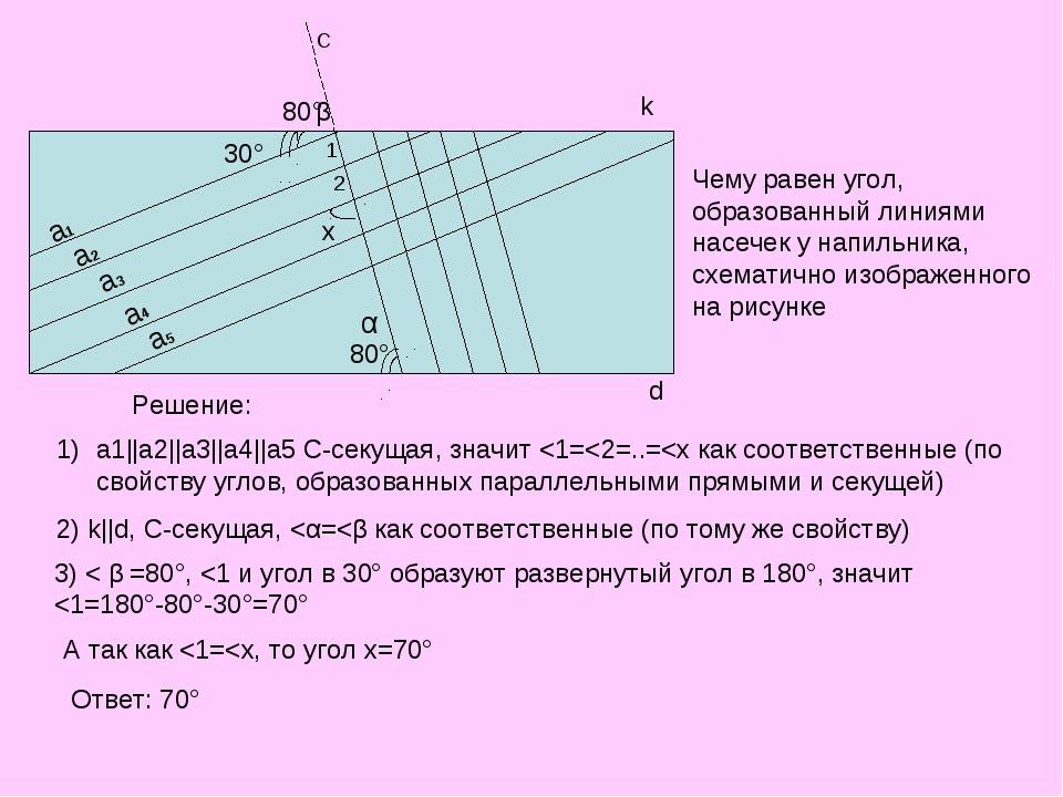 30° 80° 80° k d a1 a2 a3 a4 a5 Чему равен угол, образованный линиями насечек...