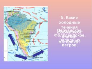 5. Какие холодные течения формируют климат материка? Перуанское, Фолклендское