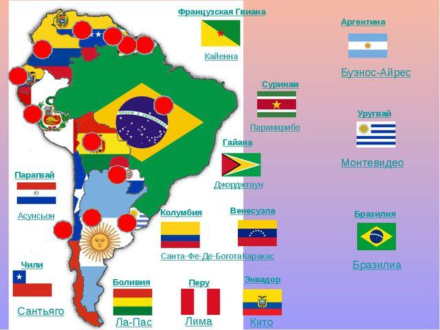 Французская Гвиана Суринам Гайана Венесуэла Колумбия Эквадор Боливия Перу Па...