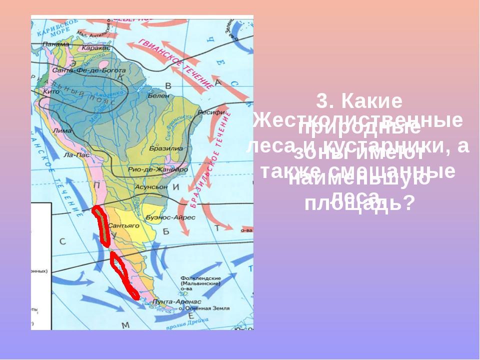 3. Какие природные зоны имеют наименьшую площадь? Жестколиственные леса и кус...