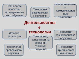 Деятельностные технологии Технологии развивающего обучения Технология, основа