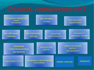 Область применения ИКТ обмен опытом общение