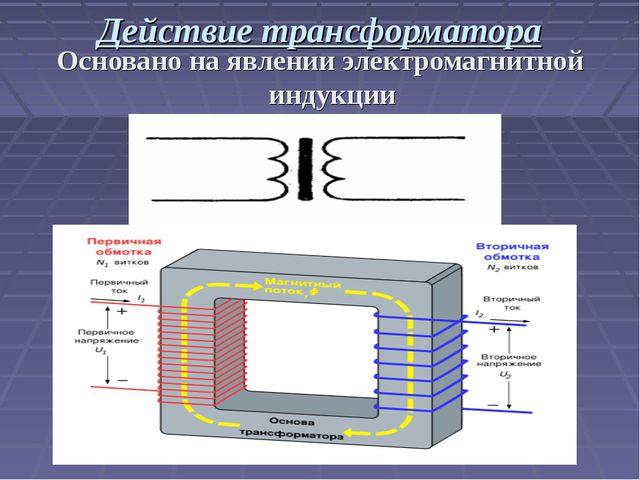 Действие трансформатора Основано на явлении электромагнитной индукции